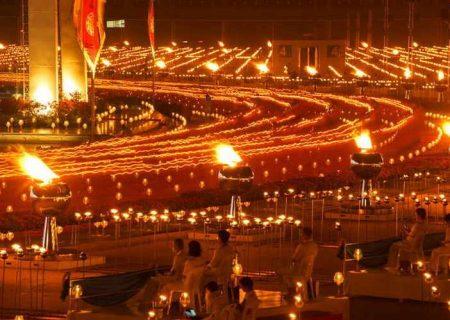 برگزاری مراسم آیینی بوداییان با حضور مجازی ۲۰۰ هزار نفر + تصاویر